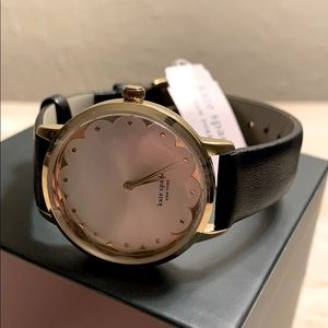 Kate Spade Leather Watch Black Gold New With Tags